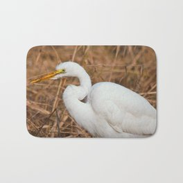 Elegant Great Egret in the Reeds Bath Mat