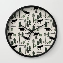 Camping woodland forest nature moose bear pattern nursery gifts Wall Clock