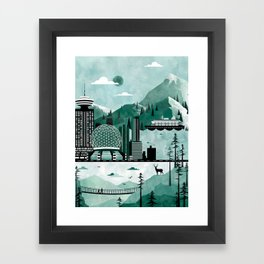 Vancouver Travel Poster Illustration Framed Art Print