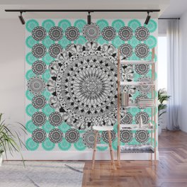 Black and Teal Patterned Mandalas Wall Mural
