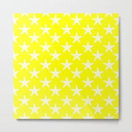 Starfishes (White & Yellow Pattern) Metal Print