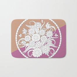 geometric pattern with bouquet into mandala Bath Mat