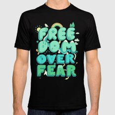 Freedom Over Fear Mens Fitted Tee MEDIUM Black