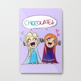 Frozen- Elsa and Anna Chocolate fan!! Metal Print