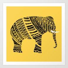 Endangered elephant - yellow Art Print