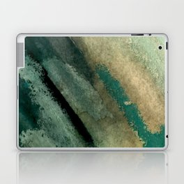Green Thumb - an abstract mixed media piece in greens and blues Laptop & iPad Skin