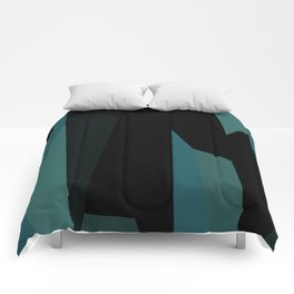 teal and black abstract Comforters