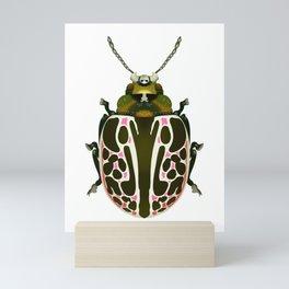 Green, White, Pink Beetle Mini Art Print