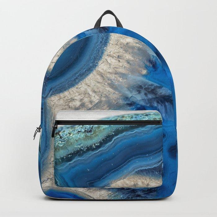 blue green agate slice Backpack