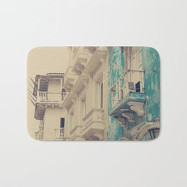 Grunge Summer Town (Retro and Vintage Urban, architecture photography, blue and cream) Bath Mat