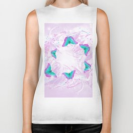 Abstract vibrant butterflies against a floral background featuring wattle Biker Tank