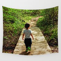 toddler Wall Tapestries featuring Walking Into the Future by GoldTarget