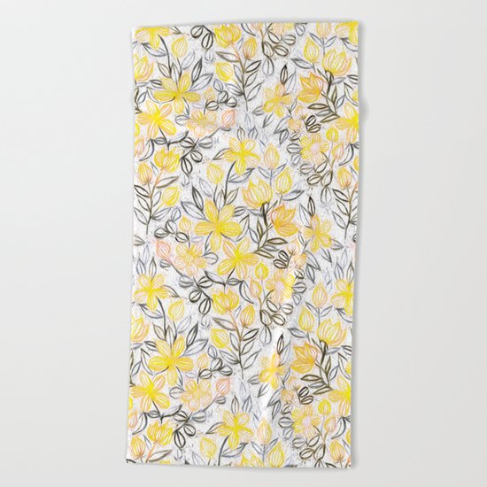 Sunny Yellow Crayon Striped Summer Floral Beach Towel
