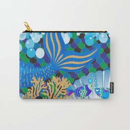 Ocean Blue Mermaid Tail Life Carry-All Pouch