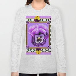 SPRING PURPLE & YELLOW PANSIES  GARDEN Long Sleeve T-shirt