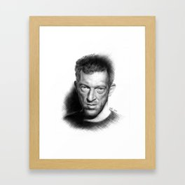 Vincent Cassel on ballpen B&W Framed Art Print