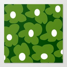 Spring Green Retro Flowers Dark Green Background #decor #society6 #buyart Canvas Print
