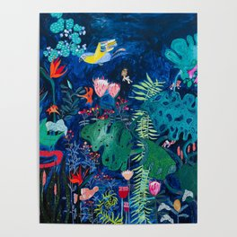 Brightly Rainbow Tropical Jungle Mural with Birds and Tiny Big Cats Poster