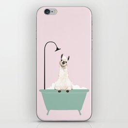 Llama Enjoying Bubble Bath iPhone Skin