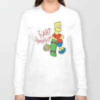 simpson Long Sleeve T-shirts featuring FART SIMPSON by Josh LaFayette