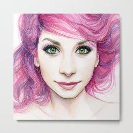 Pink Hair Girl Metal Print