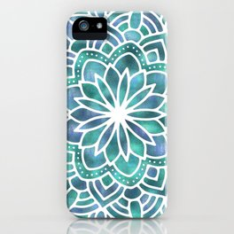 Mandala Succulent Blue Green iPhone Case