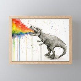 T-Rex Dinosaur Vomits Rainbow Framed Mini Art Print