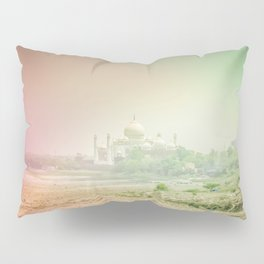 Colors of Dreamy Taj Mahal in the Morning Mist Behind the Yamuna River Pillow Sham