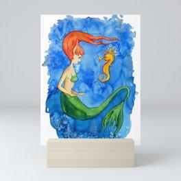 Sirenita y caballito de mar Mini Art Print