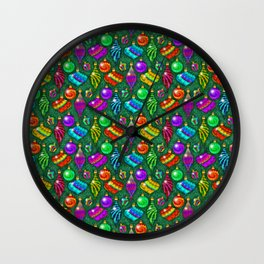Tie Dye Holiday Ornaments Wall Clock