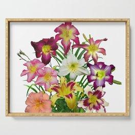 Celebration of daylilies II, Hemerocallis flowers Serving Tray