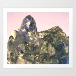 Blue Celestite Crystals Quartz Aura Said to Reduce Stress Art Print