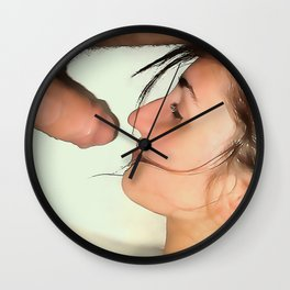 NSFW! Adult content! Cartoon sex play, dick in face, happy face in color Wall Clock
