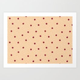 Polka dots and dashes // peach and burgundy Art Print