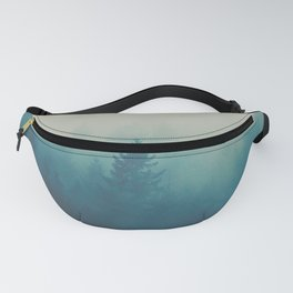 Misty Turquoise Blue Pine Forest Foggy Parallax Tree Landscape Silhouette Fanny Pack