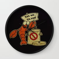 lobster Wall Clocks featuring Lobster by Barbo's Art