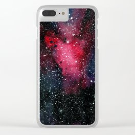 Red Cosmos Art Painting Clear iPhone Case