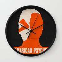 american psycho Wall Clocks featuring American Psycho by Bill Pyle