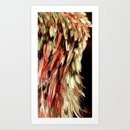 Angel Wing Rich Red and Gold - Left Art Print