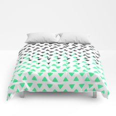 Modern Abstract Mint Green Black Triangles Pattern Comforters