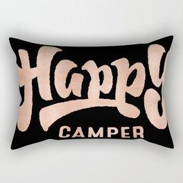 HAPPY CAMPER Rose Gold on Black Rectangular Pillow