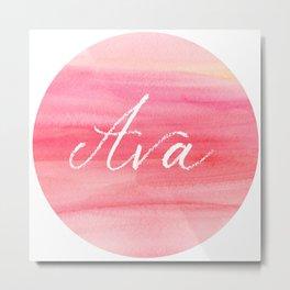 Ava - name art print on pink watercolor Metal Print