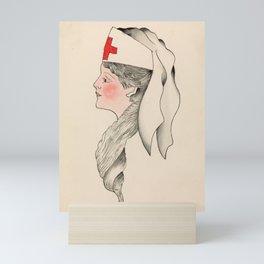 Vintage Tattoo Army Nurse Design Mini Art Print
