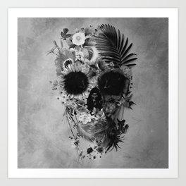 Garden Skull B&W Art Print