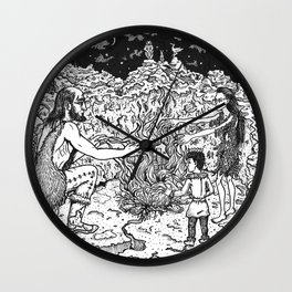 a Mage, a Wizard and a Sorcerer Wall Clock