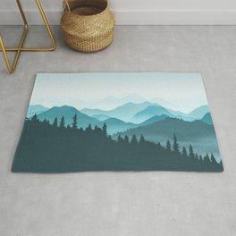 Teal Mountains Rug