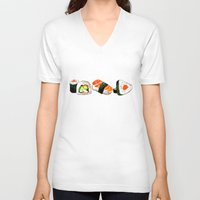 sushi V-neck T-shirts featuring SUSHI by Sandpaperdaisy