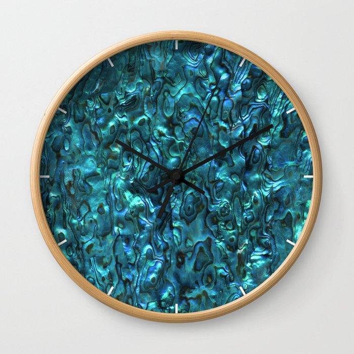 Abalone Shell | Paua Shell | Cyan Blue Tint Wall Clock