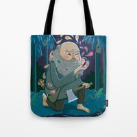 fairies Tote Bags featuring Giant & Fairies by Gina Perry