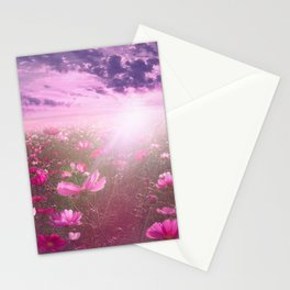 Wild Mexican Aster fields amid the purple sunset Stationery Cards